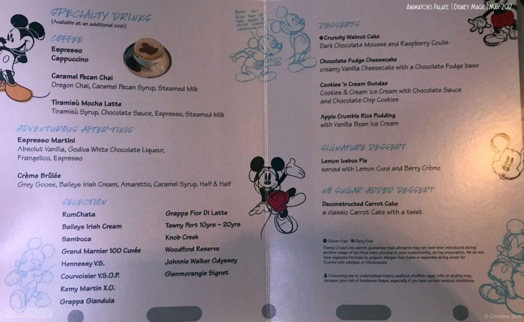 Animators Palate Dinner Menu Dessert Magic May 2017