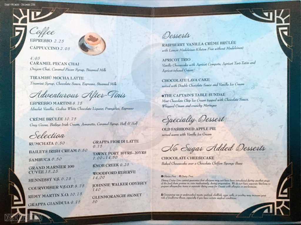Captains Gala Dessert Menu Wonder December 2016