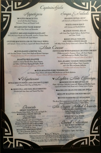 Captains Gala Dinner Menu Fantasy October 2015
