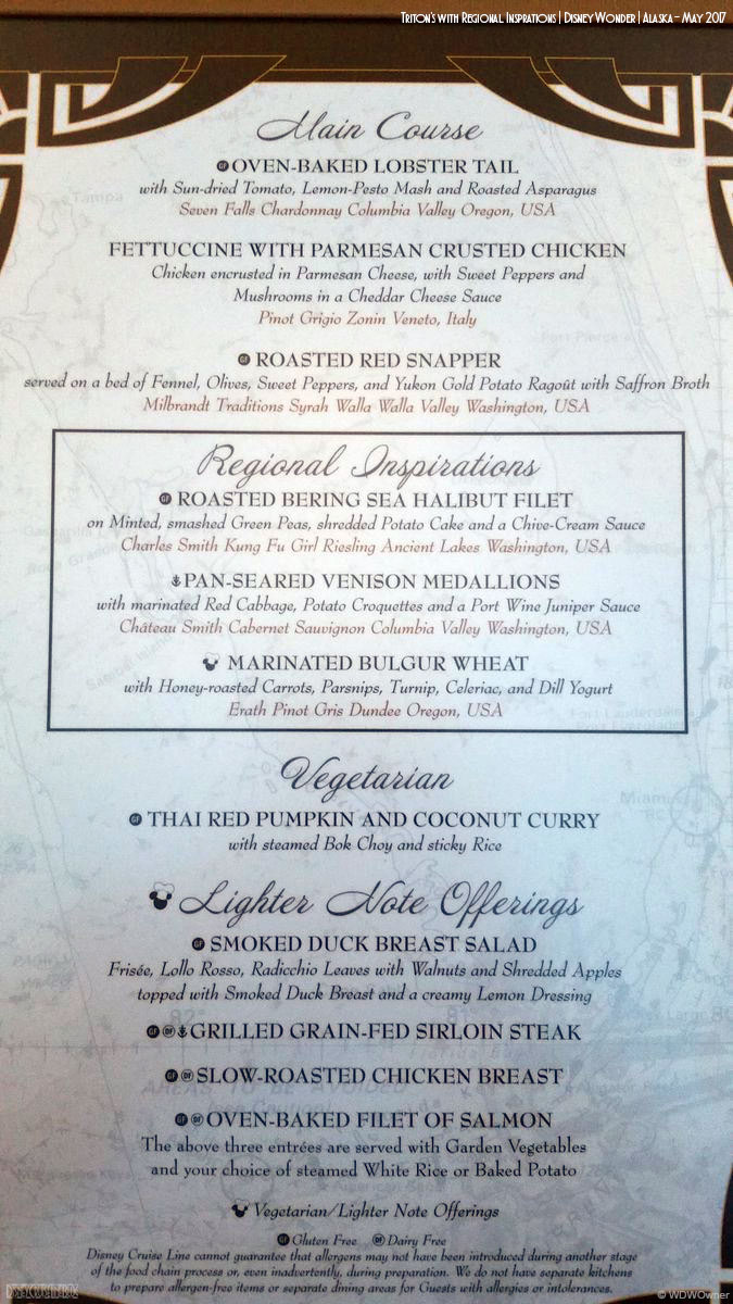 Captain\'s Gala Dinner Menu • The Disney Cruise Line Blog