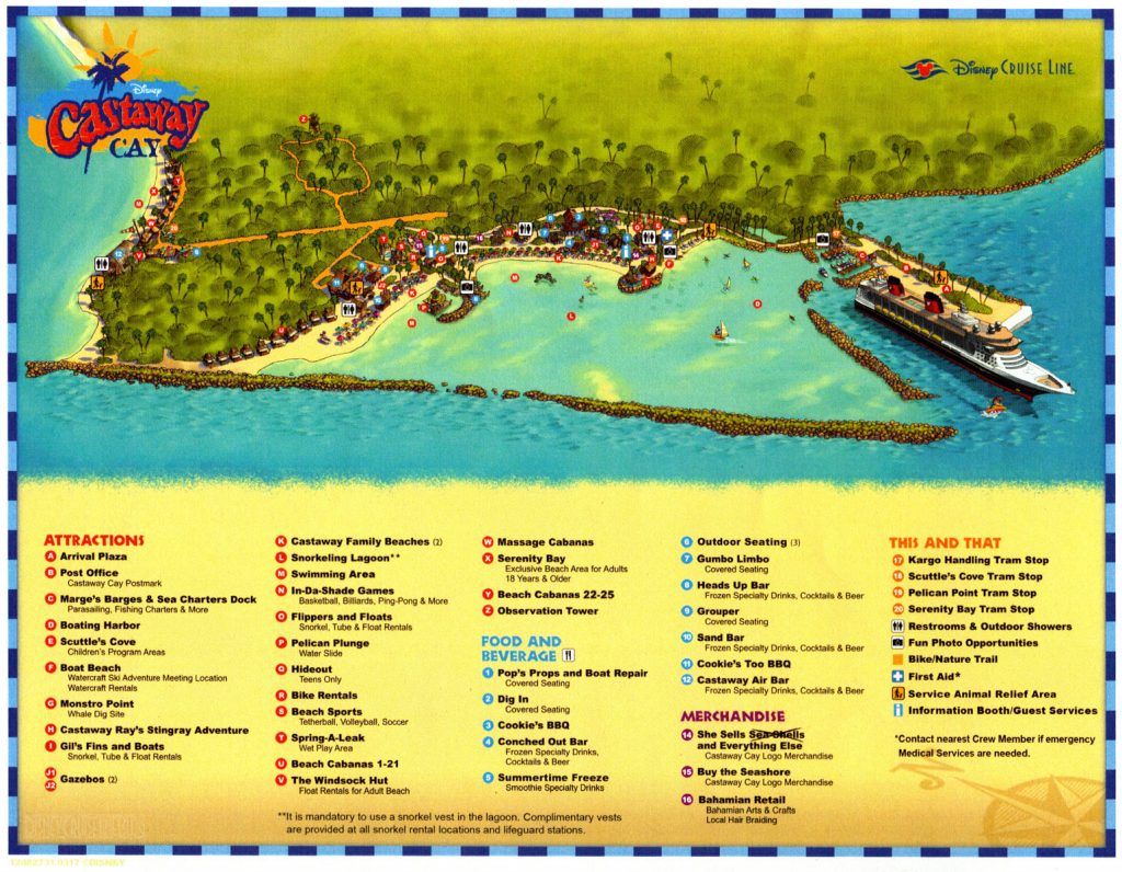 Castaway Cay Map March 2017 Service Animal Relief
