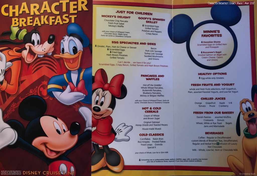 DCL Character Breakfast Menu Magic May 2017