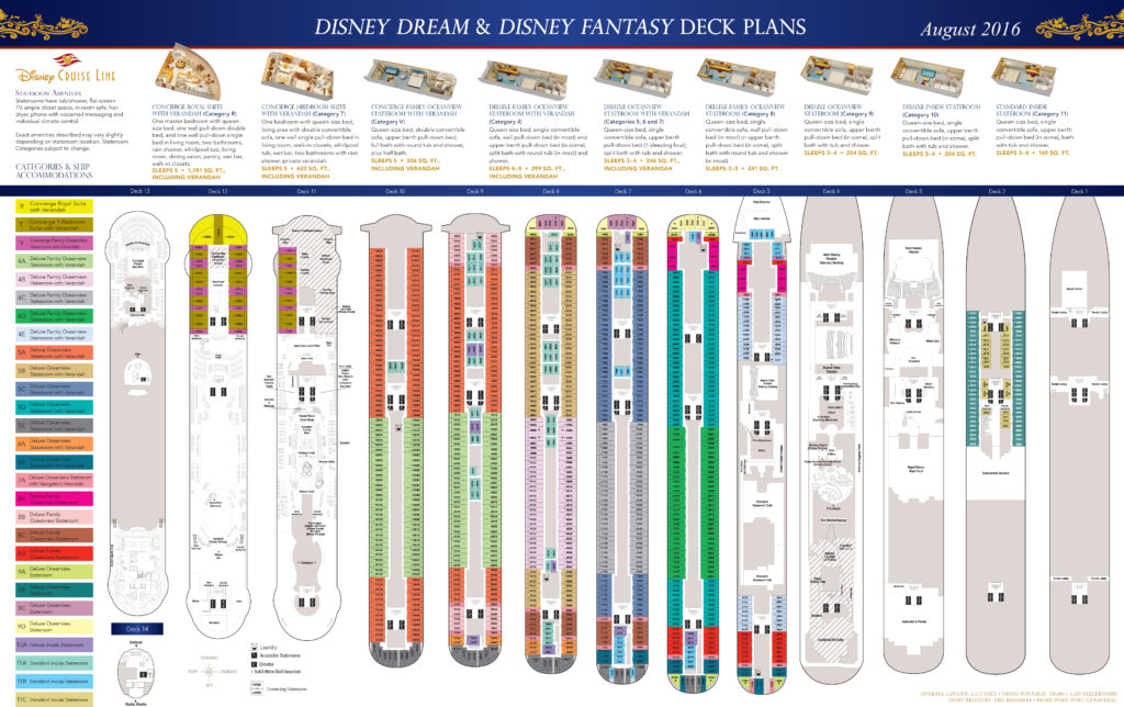 DCL Deck Plans Dream Fantasy August 2016