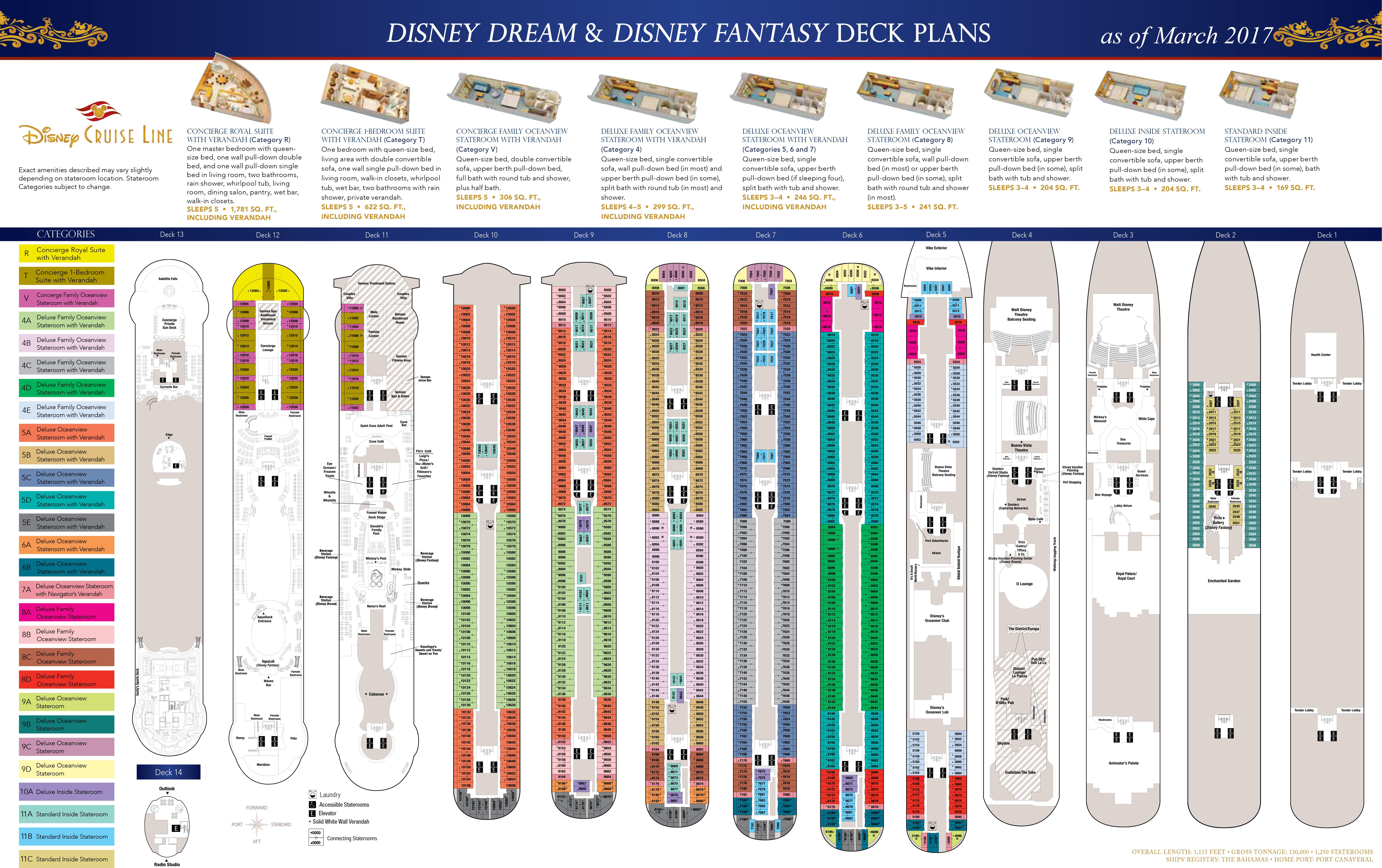 Deck Plans Disney Dream Disney Fantasy The Disney Cruise Line Blog