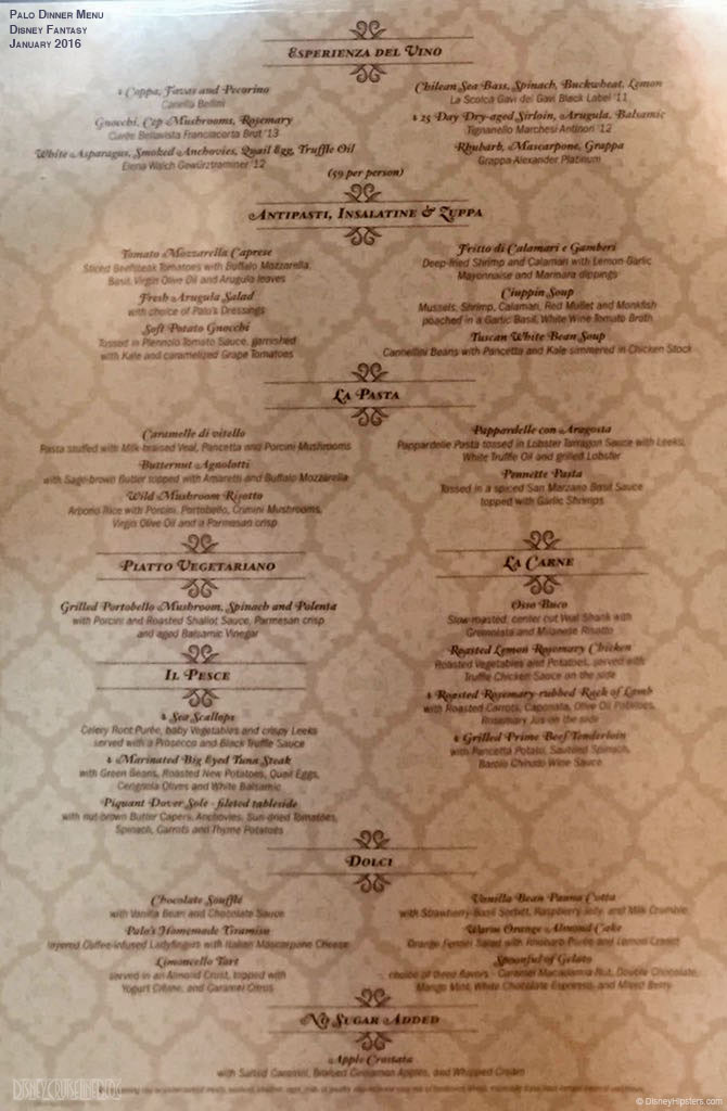 DCL Palo Menu Full Fantasy January 2016