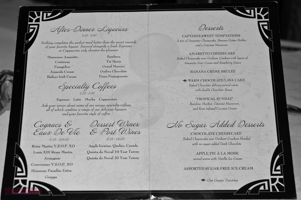 Captain's Gala Dessert Menu