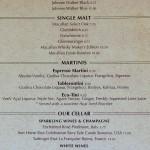 Cove/Vista Cafe - Menu Alcoholic Drinks