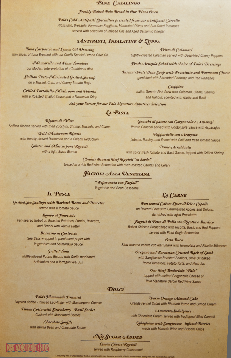 Palo Menu The Disney Cruise Line Blog