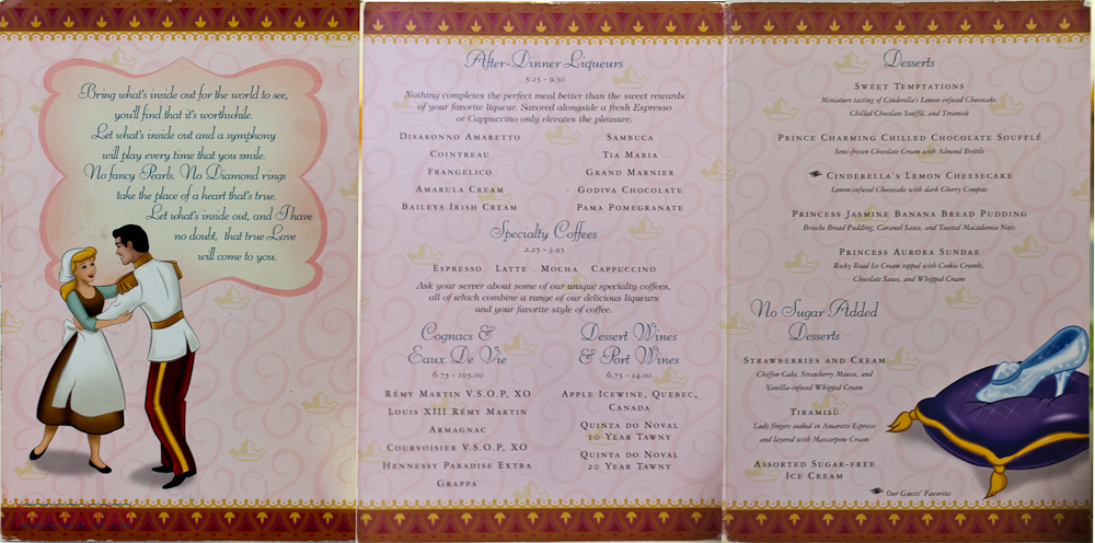 Prince & Princess Dinner - Dessert Menu