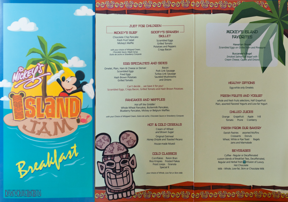 Mickey's Island Jam Breakfast Menu