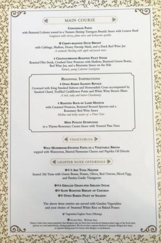 Lumiere's Dinner Menu B Magic July 2015