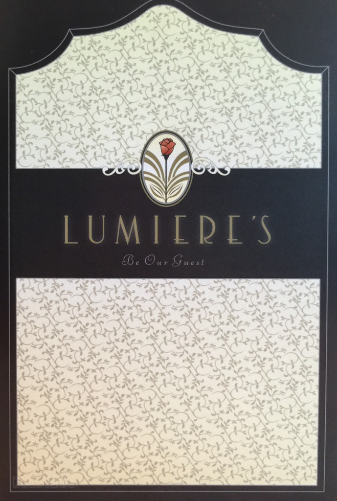 Lumiere's Dessert Menu Cover Magic July 2015