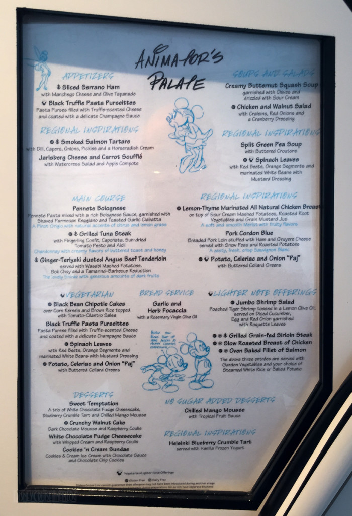 Animator's Palate Dinner Complete Menu Magic July 2015