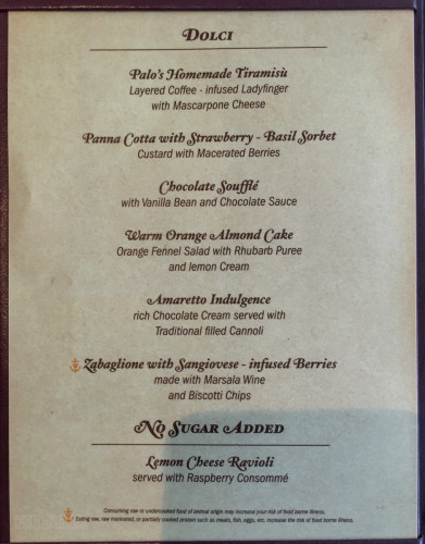 Palo Dessert Menu A Magic July 2015