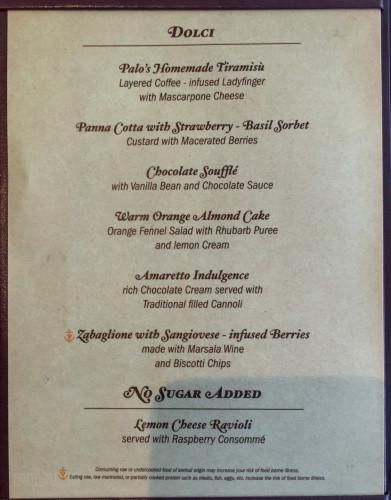 Palo Dessert Menu A Magic July 2015