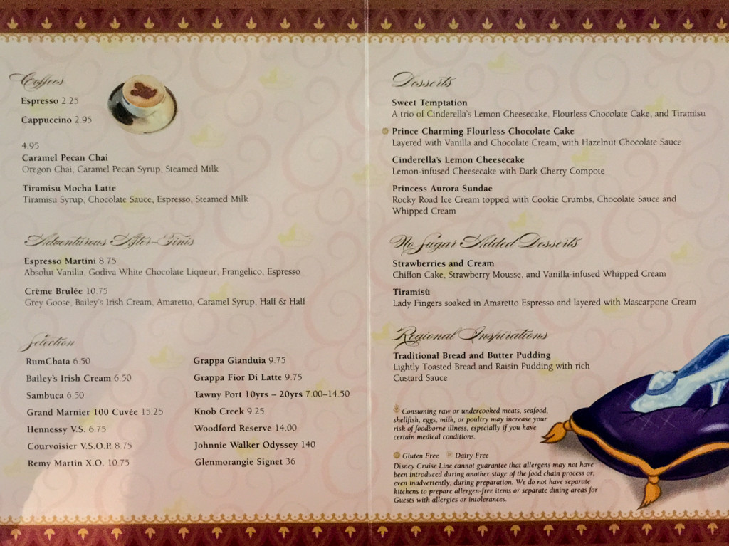 Prince And Princess Dessert Menu Magic July 2015