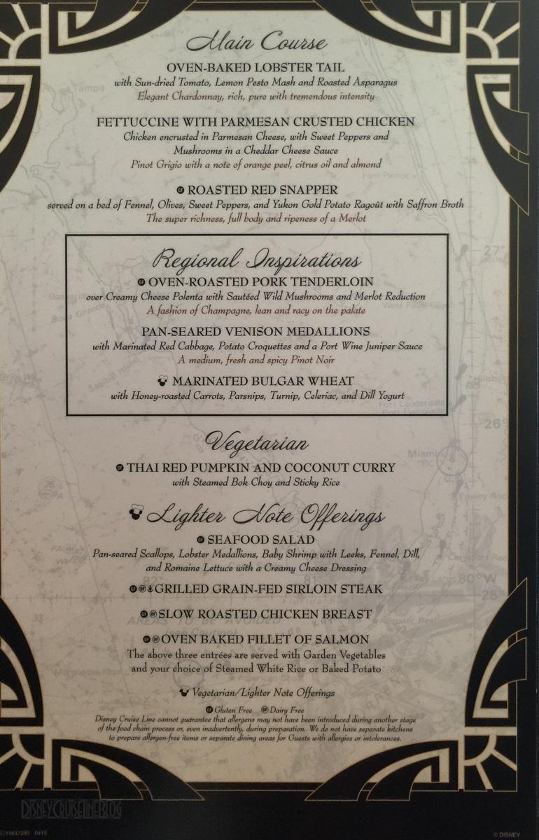 Captain S Gala Dinner Menu The Disney Cruise Line Blog