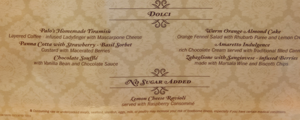 Palo Menu Disney Magic October 2013 Dolci, No Sugar Added