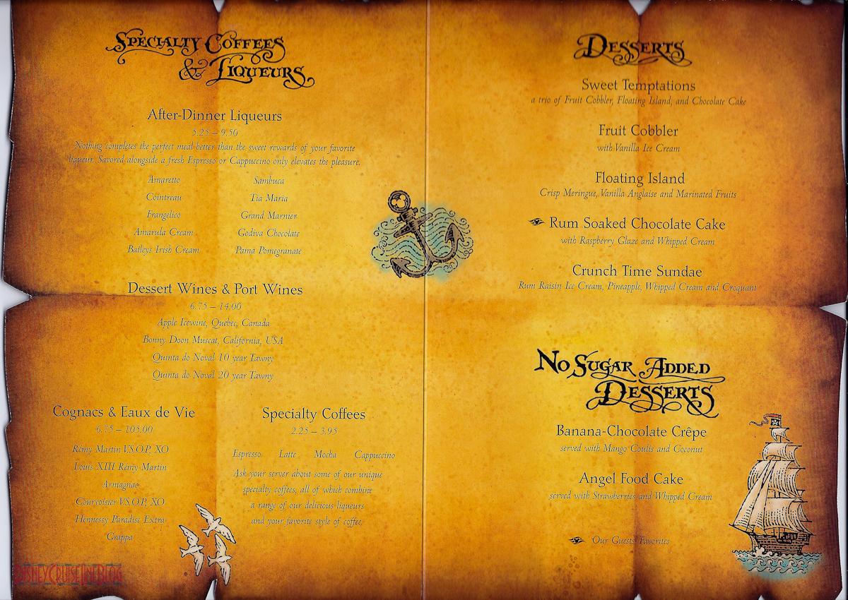 Pirates IN The Caribbean Dinner Menu O Disney Cruise Line Blog