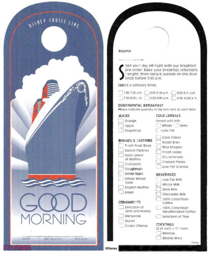 Good Morning Room Service Menu Door Hanger