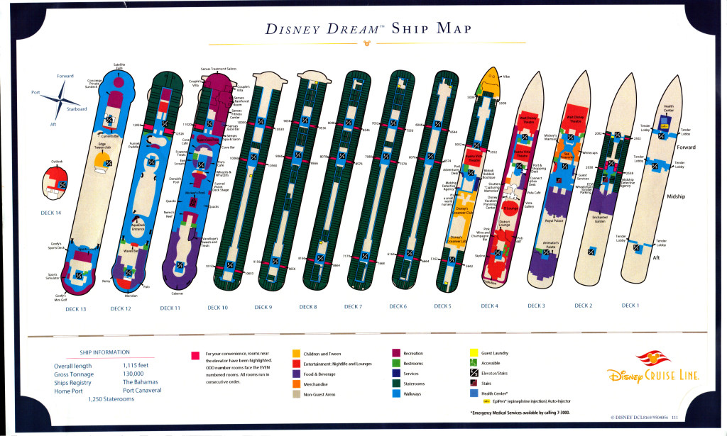 Disney Dream Ship Map Handout October 2015