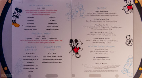 Disney Magic Animators Palate Dessert Menu October 2013