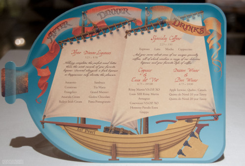Disney Magic Pirates IN The Caribbean After Dinner Drink Menu October 2013