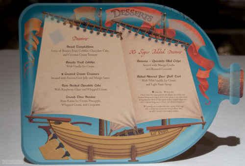 Disney Magic Pirates IN The Caribbean Dessert Menu October 2013