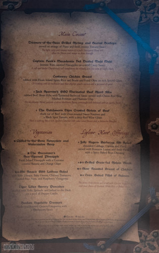 Disney Magic Pirates IN The Caribbean Menu Main Course October 2013