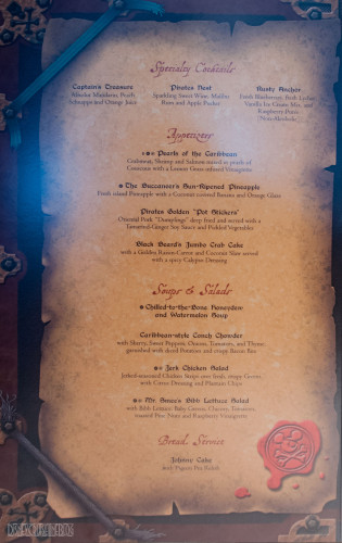 Disney Magic Pirates IN The Caribbean Menu Starters October 2013
