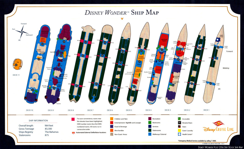 Disney Wonder Post 2016 Dry Dock Ship Map