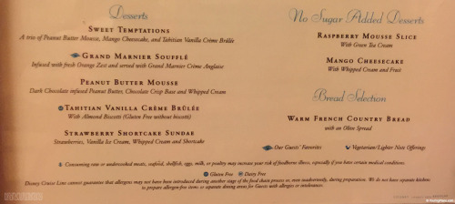 Disney Wonder Tritons Menu Desserts November 2014