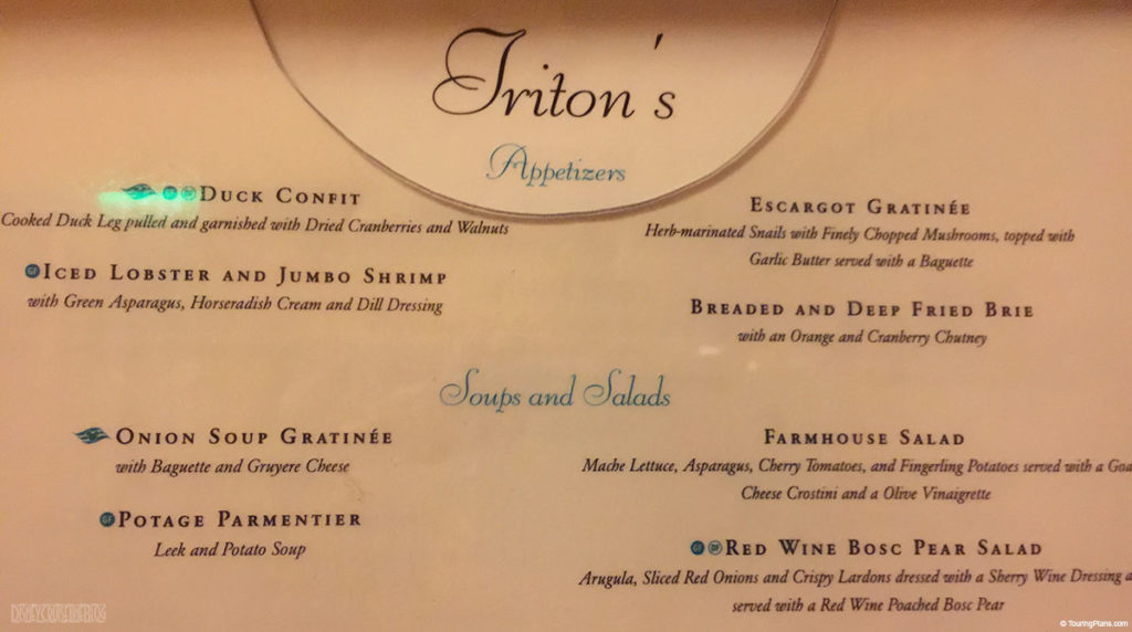 Disney Wonder Tritons Menu Drinks Soups Salads November 2014