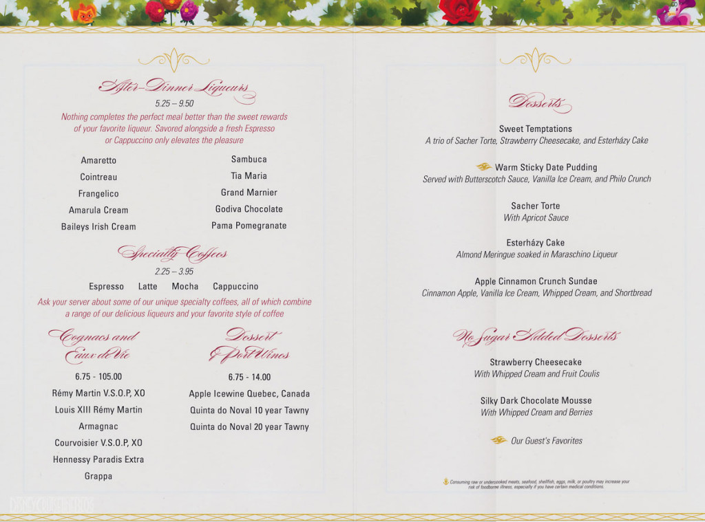 Enchanted Garden Dessert Menu Dream Fantasy August 2013