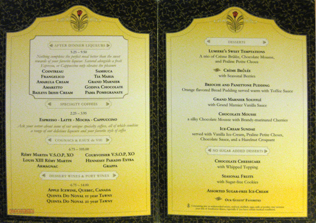 Lumiere's Dinner Dessert Menu May 2013