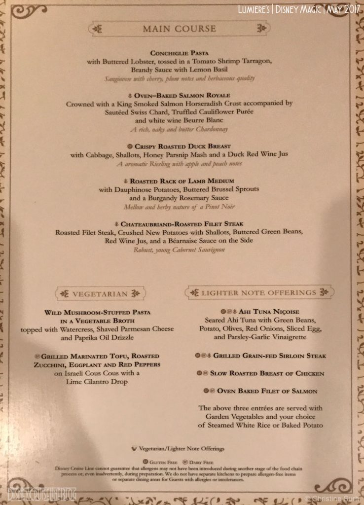 Lumiere S Menu The Disney Cruise Line Blog