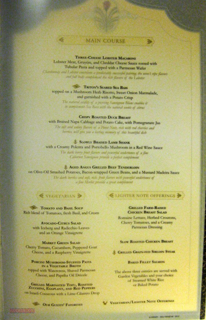 Lumiere's Dinner Menu Inside 2 May 2013