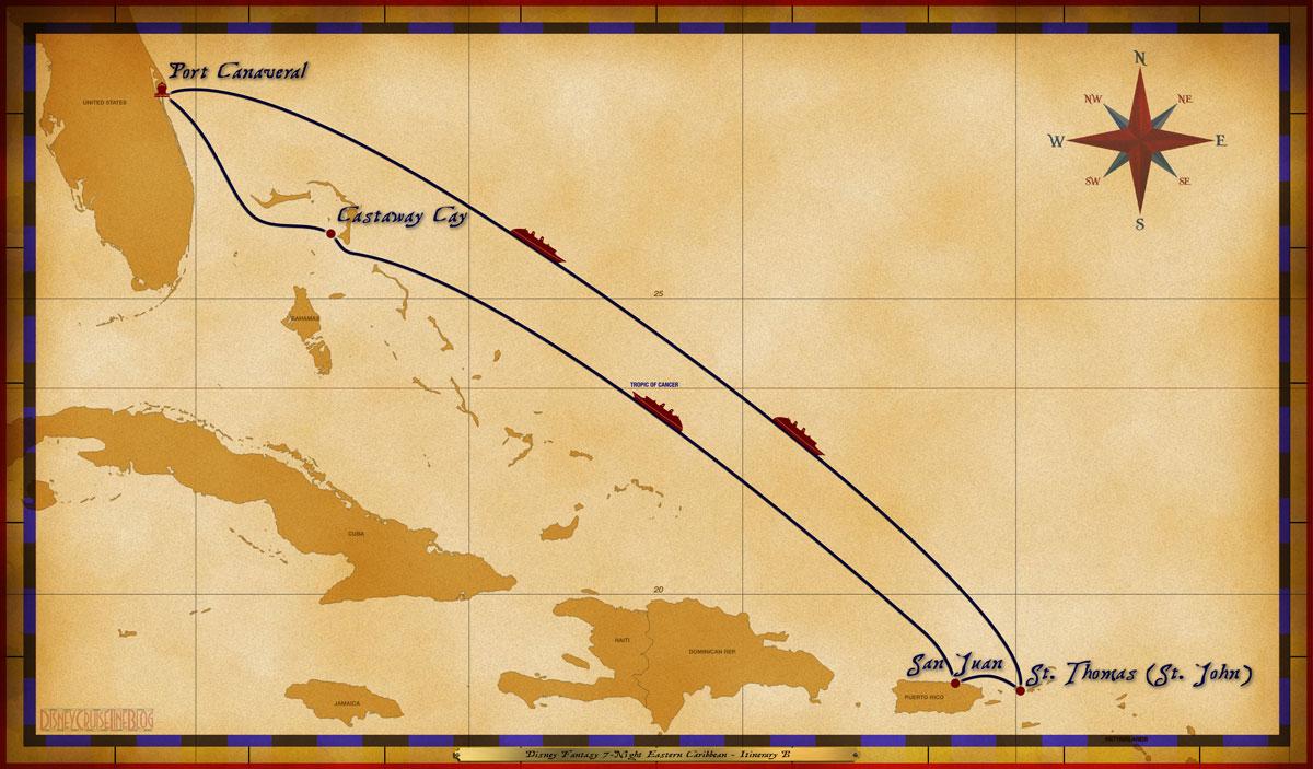 Port Canaveral, FL • At Sea • At Sea • St. Thomas (w. St. John excursions) • San Juan, Puerto Rico • At Sea • Disney's Castaway Cay