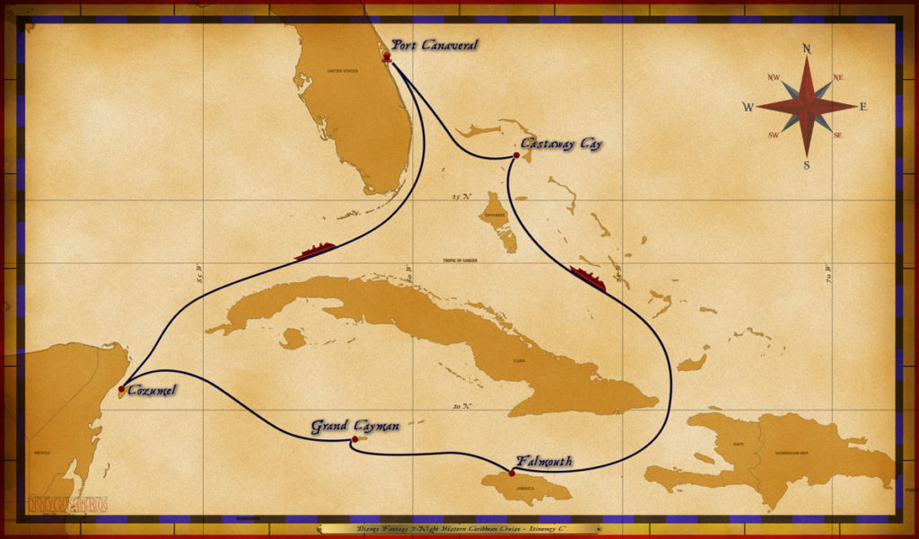 Port Canaveral, FL • At Sea • Cozumel, Mexico • Grand Cayman, Cayman Islands • Falmouth, Jamaica • At Sea • Disney's Castaway Cay