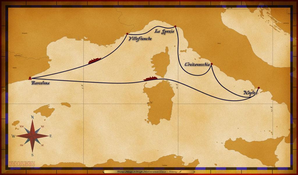 Barcelona, Spain • At Sea • Villefranche, France • La Spezia, Italy • Civitavecchia, Italy • Naples, Italy • At Sea