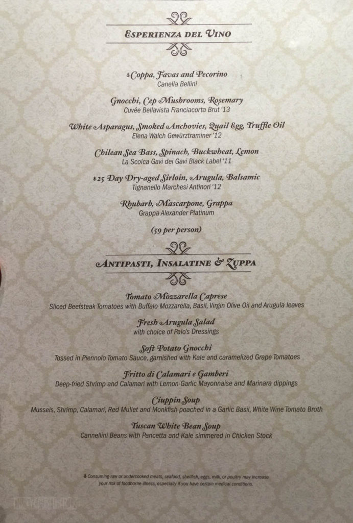 Palo Dinner Menu A Fantasy June 2016