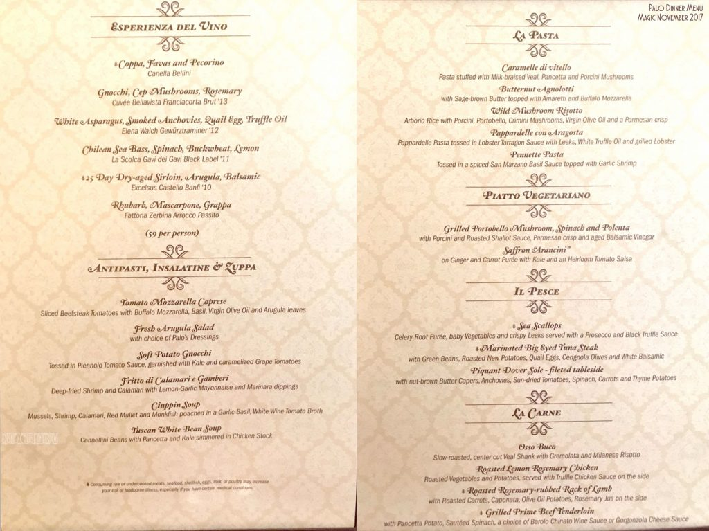 Palo Dinner Menu Magic November 2017