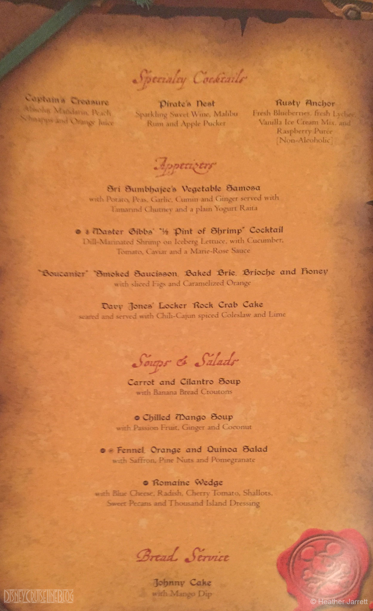 The Disney Cruise Line BlogPirates IN the Caribbean Dinner Menu