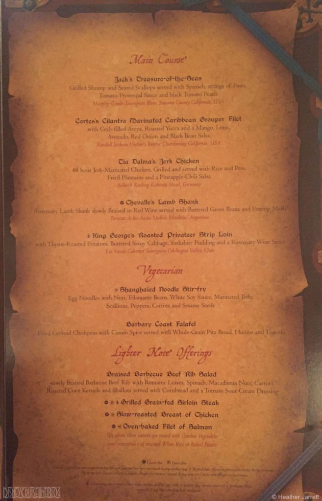 Pirate Menu B