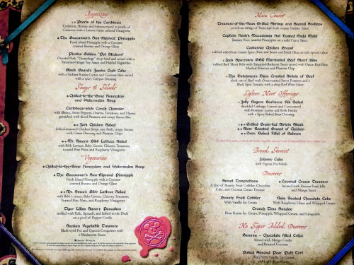 Pirates Dinner Menu Fantasy October 2015