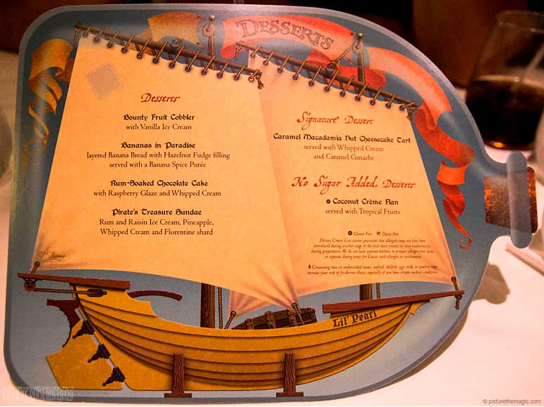 Pirates IN The Caribbean After Dinner Dessert Menu October 2016