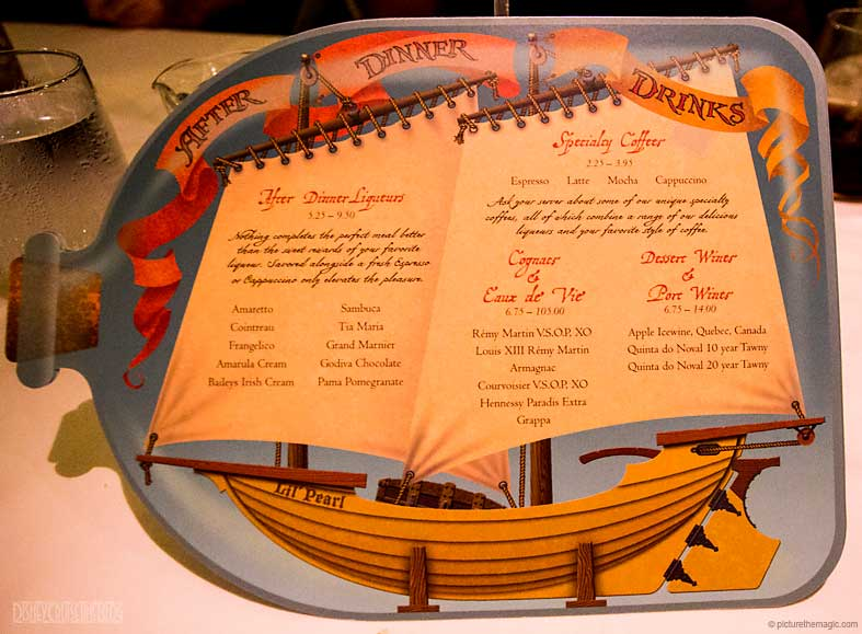 Pirates IN The Caribbean After Dinner Drink Menu October 2016