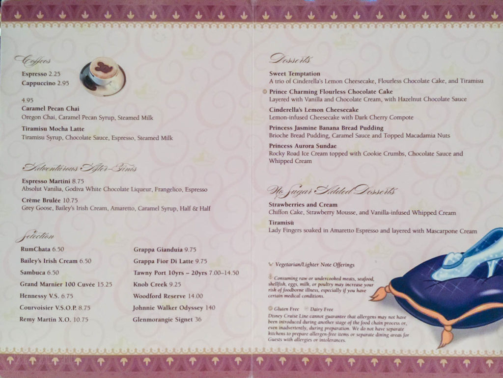 Prince & Princess Dessert Menu Fanasy June 2016