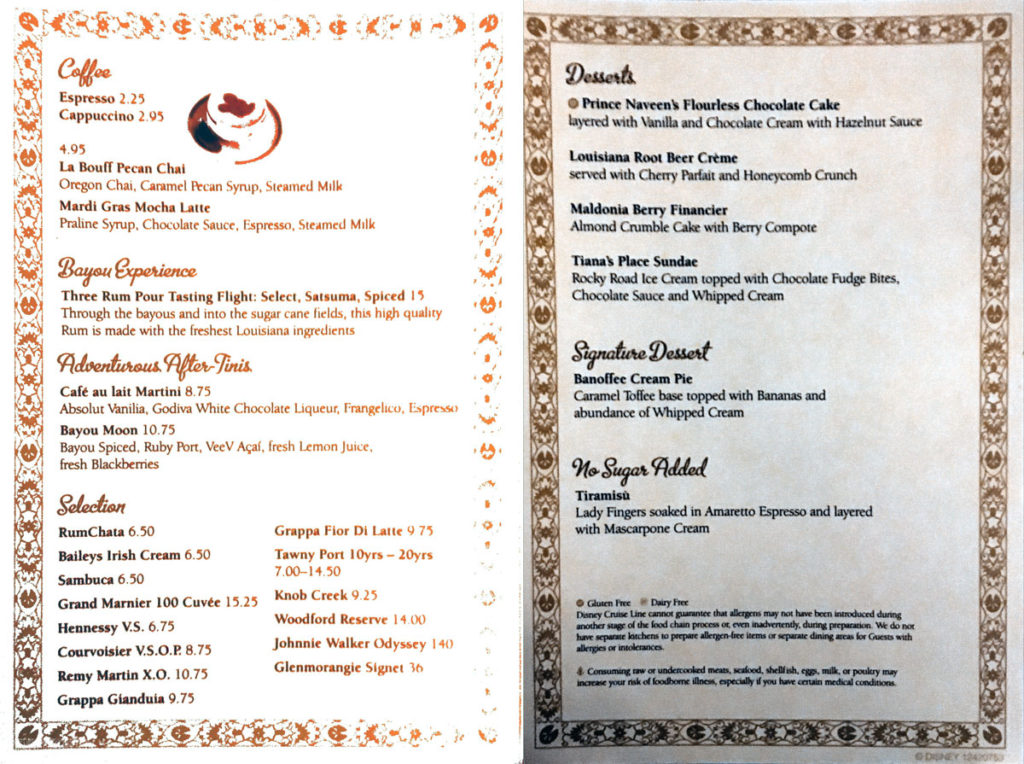 Prince Princess Dessert Menu Wonder Tiana's December 2016