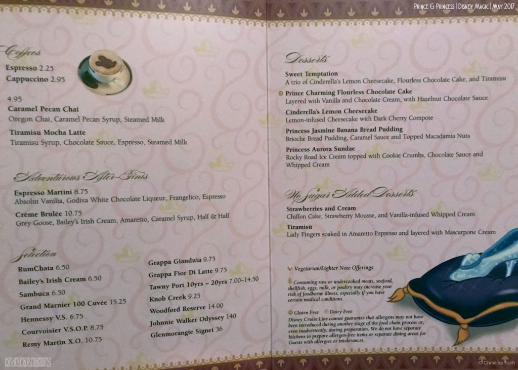 Prince Princess Dinner Menu Dessert Magic May 2017